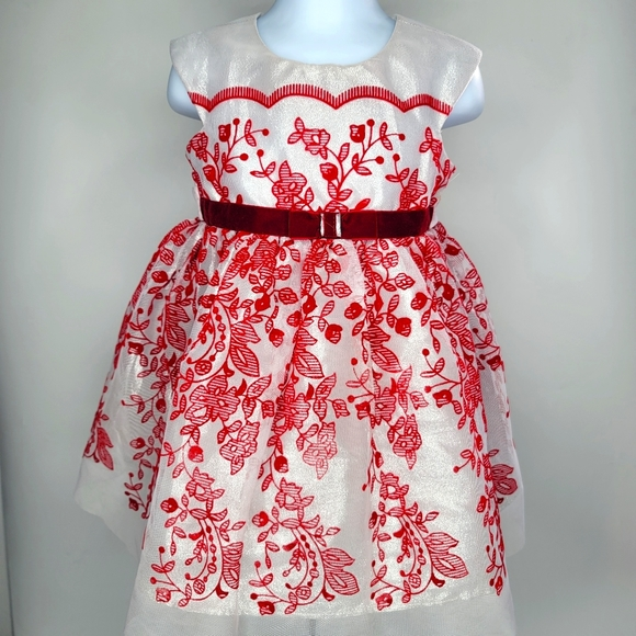 Baby Toddler Girl Dress Silver & Red Formal 2T